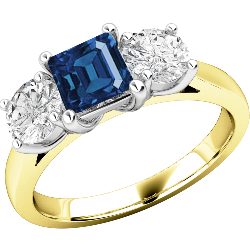 A stunning sapphire & diamond ring with shoulder stones in 18ct yellow & white gold