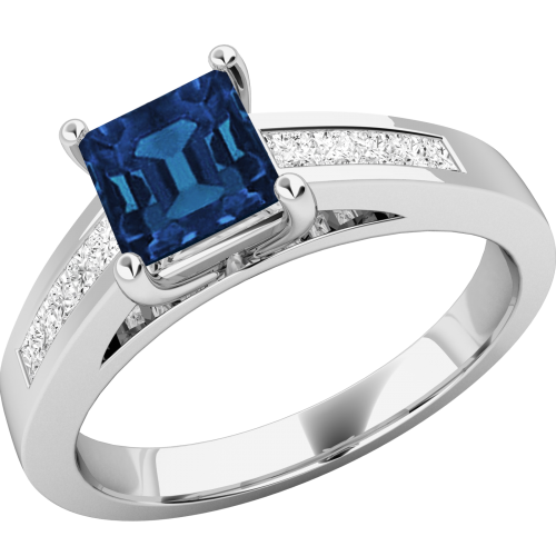A striking Square Cut Sapphire and diamond ring with shoulder stones in 18ct white gold