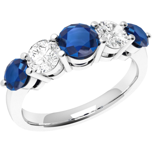 An elegant Round Brilliant Cut sapphire & diamond eternity ring in 18ct white gold
