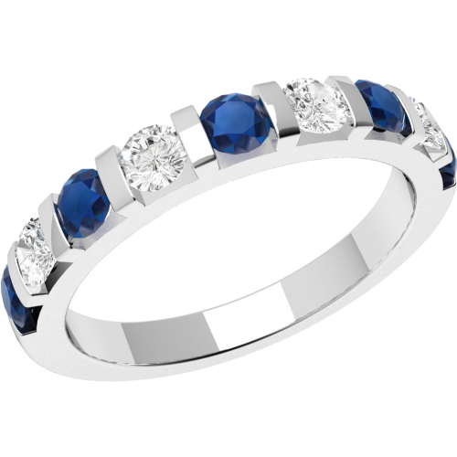 A stylish Round Brilliant Cut sapphire & diamond eternity ring in 18ct white gold