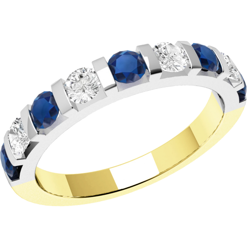 A stylish Round Brilliant Cut sapphire & diamond eternity ring in 18ct yellow & white gold