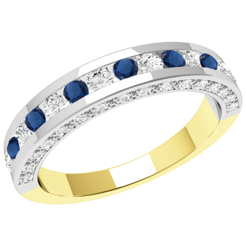 A breathtaking sapphire & diamond eternity ring in 18ct yellow & white gold