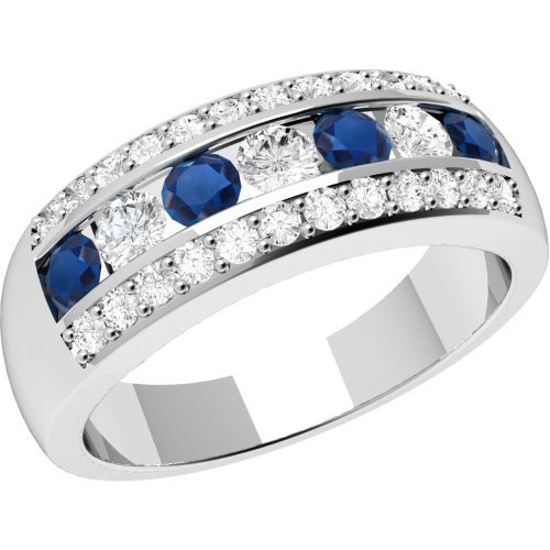 A stunning sapphire & diamond dress ring in 18ct white gold