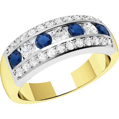 A stunning sapphire & diamond cocktail ring in 18ct yellow & white gold