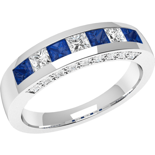 An elegant Princess Cut sapphire & diamond eternity ring in 18ct white gold