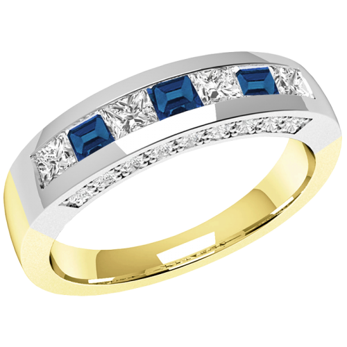 An elegant Princess Cut sapphire & diamond eternity ring in 18ct yellow & white gold