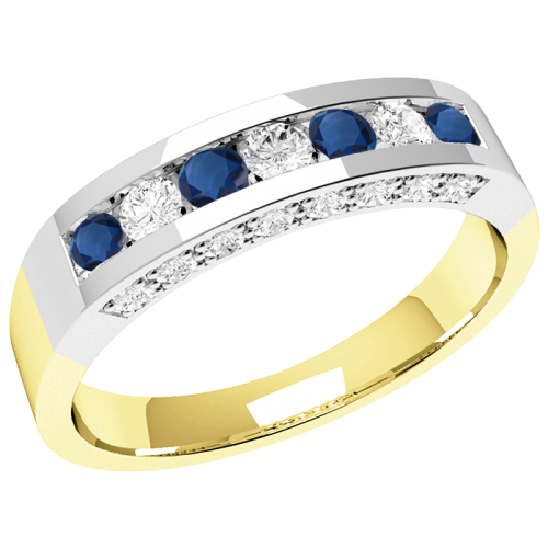 An elegant Round Brilliant Cut sapphire & diamond eternity ring in 18ct yellow & white gold