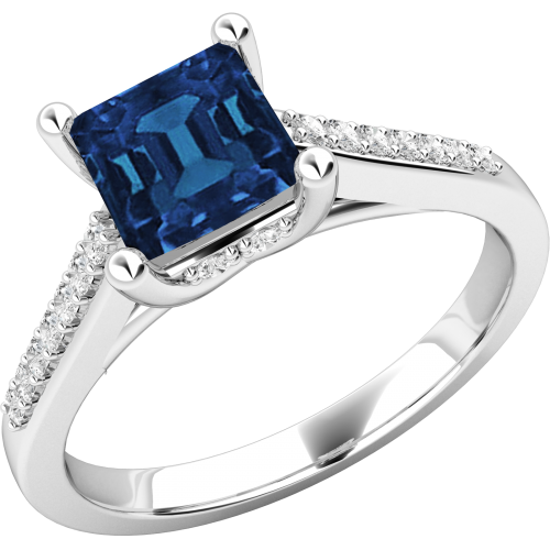 An elegant Square Cut Sapphire and Diamond ring with shoulder stones in 18ct white gold