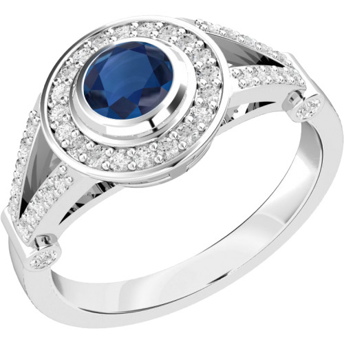 An elegant sapphire & diamond cocktail ring in 18ct white gold