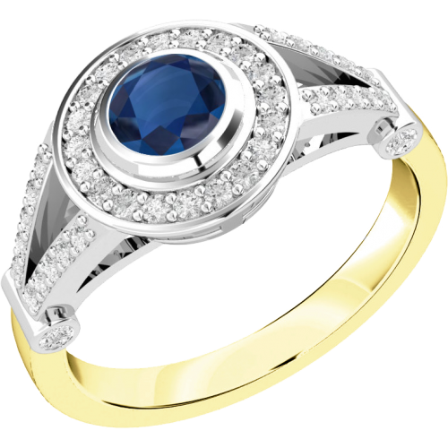 An elegant sapphire & diamond cocktail ring in 18ct yellow & white gold