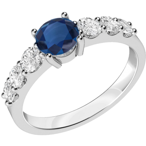 A stunning sapphire ring with diamond shoulder stones in 18ct white gold