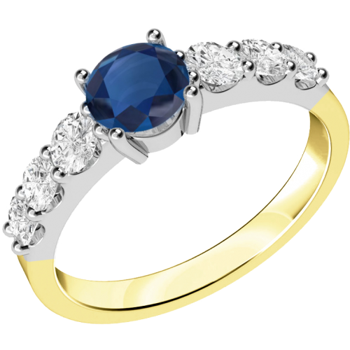 A stunning sapphire ring with diamond shoulder stones in 18ct yellow & white gold