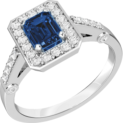 A stylish sapphire & diamond cluster ring in 18ct white gold