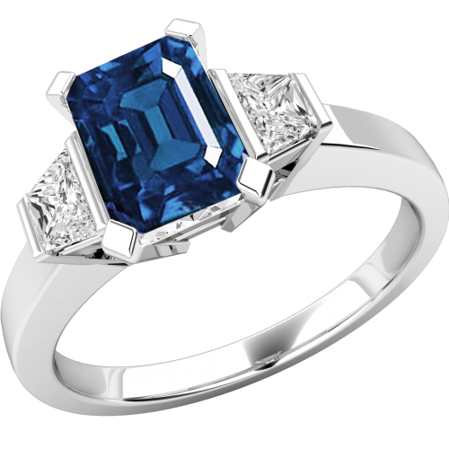 A classic three stone sapphire & diamond ring in 18ct white gold