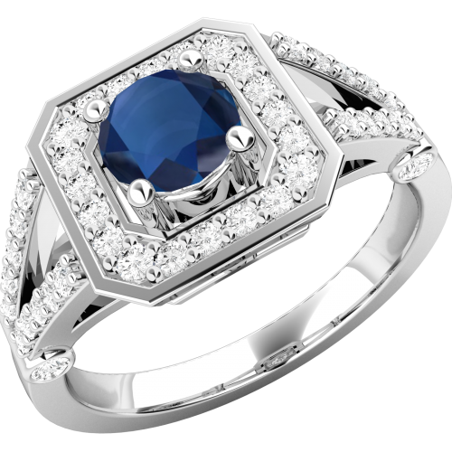 A stunning sapphire & diamond cocktail ring in 18ct white gold