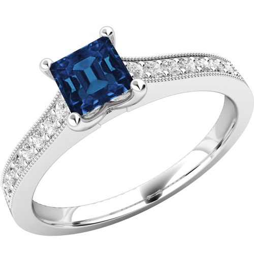 A beautiful square cut Sapphire and diamond ring with shoulder stones in 18ct white gold