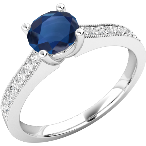 A beautiful Round Cut Sapphire and diamond ring with shoulder stones in 18ct white gold