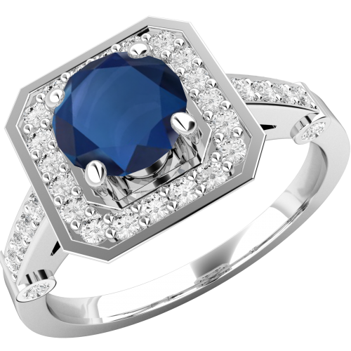 A beautiful sapphire & diamond cluster style ring in 18ct white gold