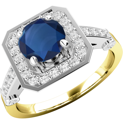 A beautiful sapphire & diamond cluster style ring in 18ct yellow & white gold