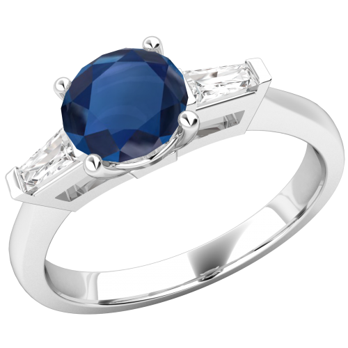 An Elegant Round cut Sapphire and diamond ring with shoulder stones in 18ct white gold