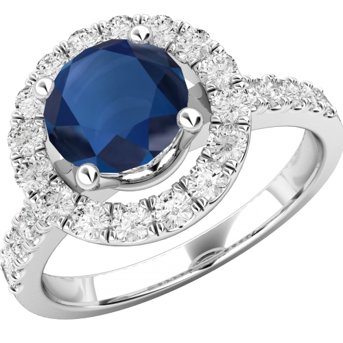 A stylish sapphire & diamond cluster style ring in 18ct white gold