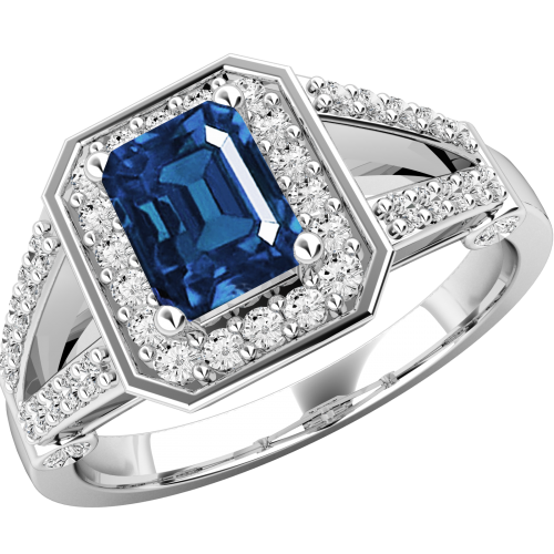 A gorgeous sapphire & diamond cluster style ring in 18ct white gold