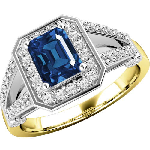 A gorgeous sapphire & diamond cluster style ring in 18ct yellow & white gold