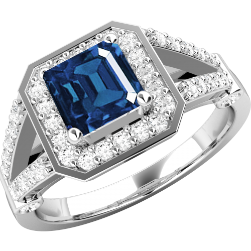 A stunning sapphire & diamond cluster style ring in 18ct white gold