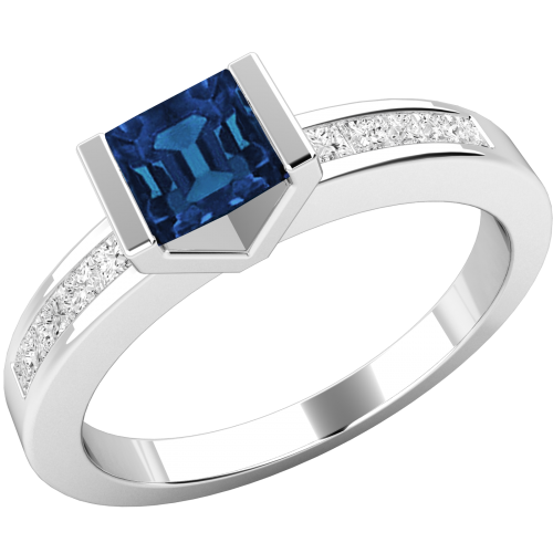 A unique Square Cut Sapphire and Diamond ring with shoulder stones in 18ct white gold