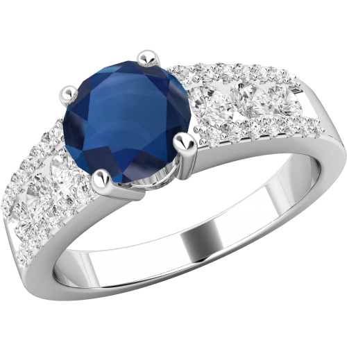 An elegant Round Cut sapphire & diamond ring in 18ct white gold