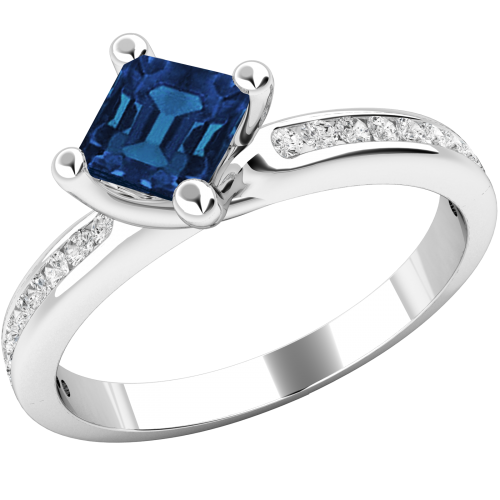 A stunning Square Cut Sapphire and Diamond ring with shoulder stones in 18ct white gold