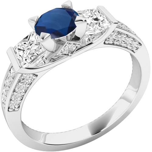 A stunning Round Cut sapphire & diamond ring with shoulder stones in platinum
