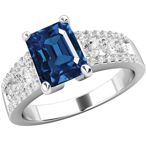 An elegant Emerald & Round Brilliant Cut sapphire & diamond ring in 18ct white gold