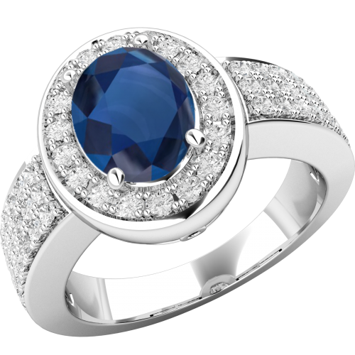 A beautiful Oval Cut sapphire & diamond ring in 18ct white gold
