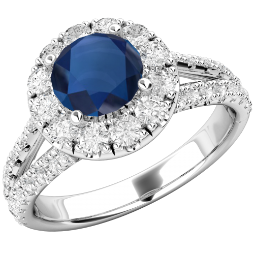 A beautiful Sapphire and diamond cluster in 18ct white gold