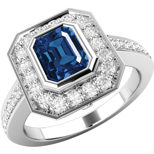 A classic sapphire & diamond cluster style ring in 18ct white gold