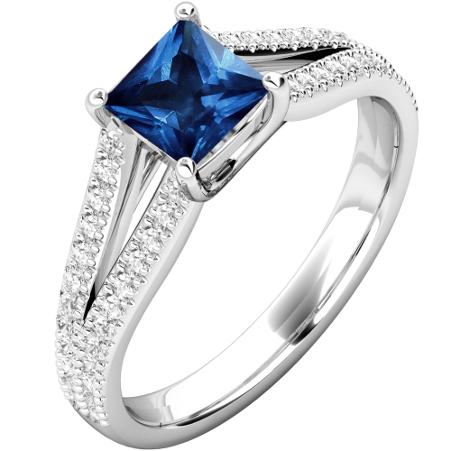A stunning princess cut Sapphire and diamond ring in 18ct white gold