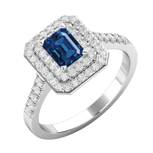 A stunning emerald cut Sapphire and diamond cluster set in 18ct white gold