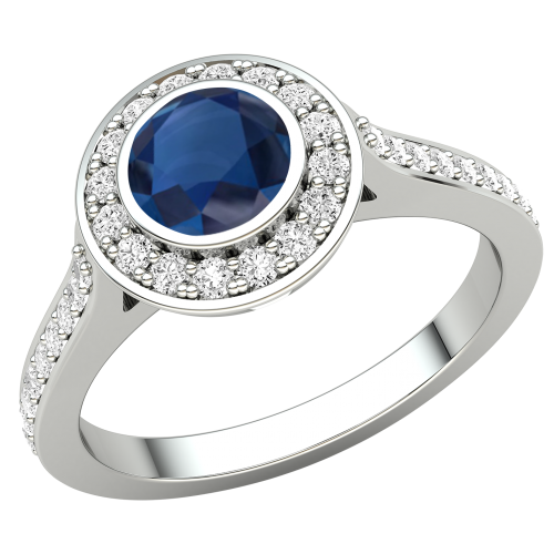 A stunning round cut Sapphire and diamond cluster ring in platinum