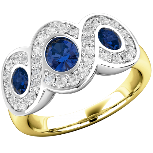 A stunning Sapphire & Diamond dress diamond ring in 18ct yellow & white gold