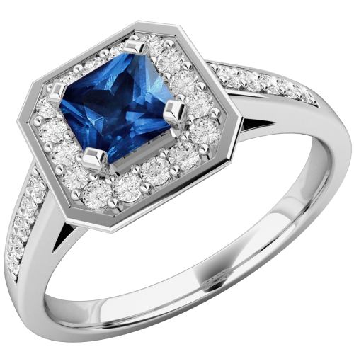 A stunning sapphire and diamond cluster with shoulder stones in 18ct white gold
