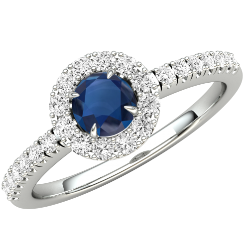 A stunning Round Cut Sapphire and diamond ring with shoulder stones in 18ct white gold