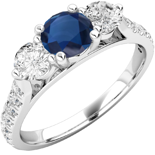 A luxurious sapphire & diamond ring with shoulder stones in 18ct white gold