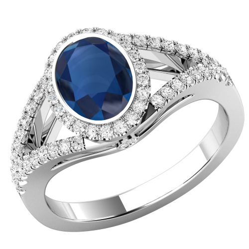 A beautiful Sapphire & diamond cluster style ring with shoulder stones in platinum