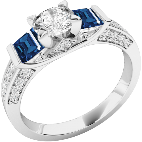 A stunning Round Brilliant Cut diamond and Sapphire ring with shoulder stones in 18ct white gold