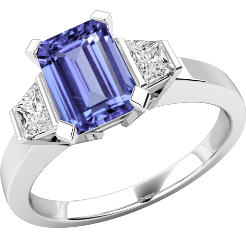 A classic three stone gemstone & diamond ring in 18ct white gold