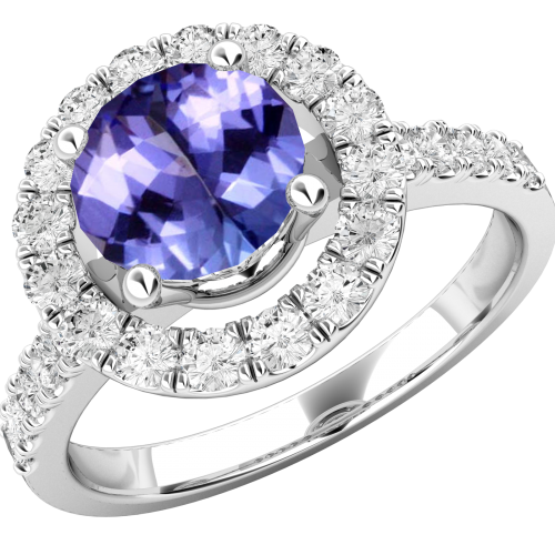 A stylish tanzanite & diamond cluster style ring in 18ct white gold