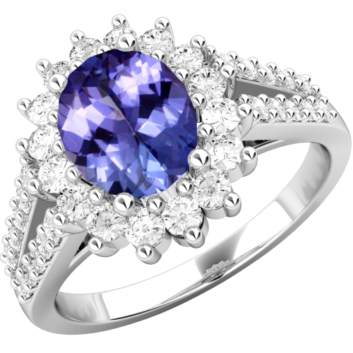 An elegant tanzanite & diamond cluster style ring in 18ct white gold