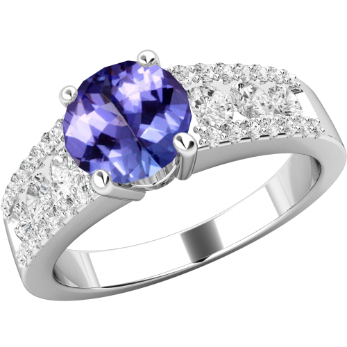 An elegant Round Cut tanzanite & diamond ring in 18ct white gold (In stock)