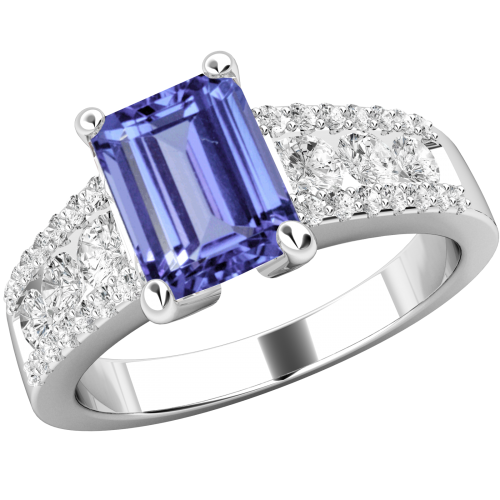 An elegant tanzanite & Round Brilliant Cut tanzanite & diamond ring in platinum